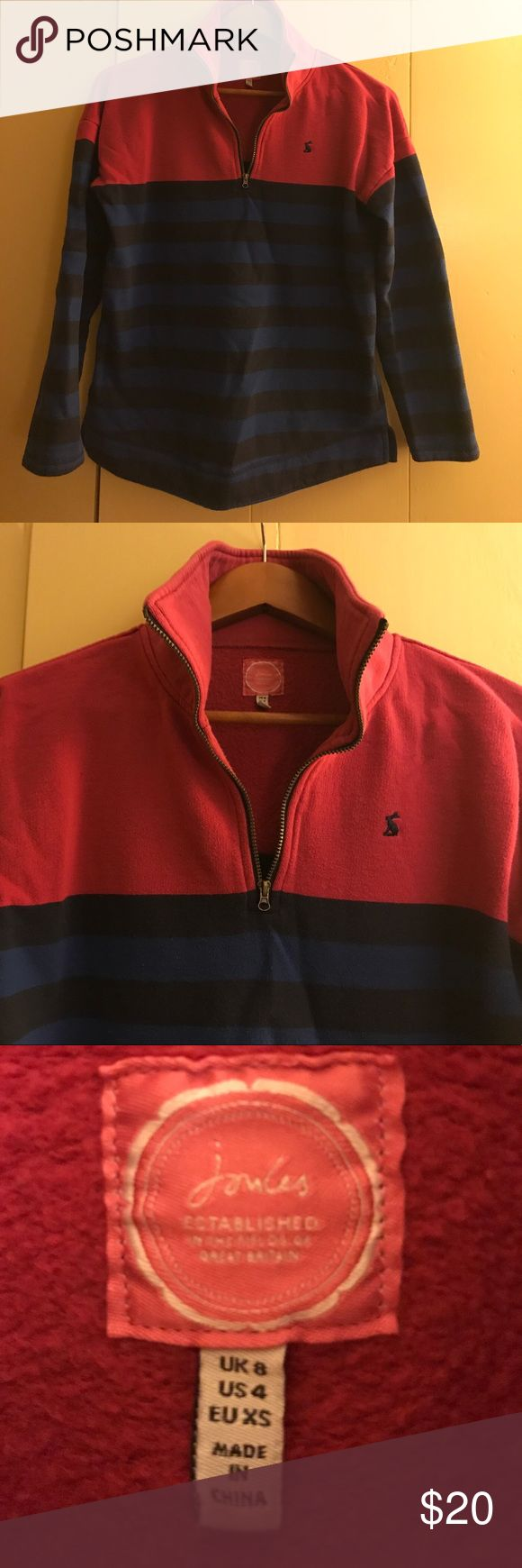 Joules quarter zip sweatshirt Lightly worn Joules rugby-style sweatshirt. Purchased in England. Classic, preppy! In great condition from non-smoking home. Very cozy and high quality! Runs a little large, more like a small. Joules Tops Sweatshirts & Hoodies