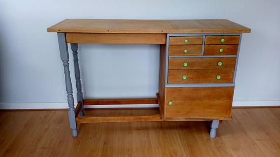 Vintage solid oak desk table with drawers and cupboard for