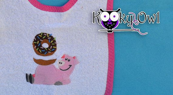 Baby Bib with little pig and donuts