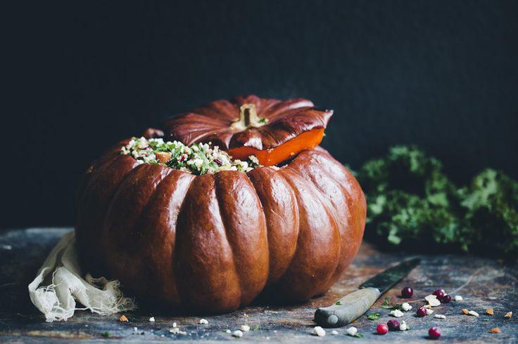 para fiestas, calabaza rellena de quinoa y vegetales #foodtomeetyou