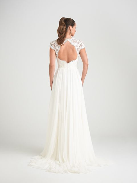 Caroline Castigliano - Springtime  Beautiful beaded lace bodice with cap sleeve straps and a lovely keyhole back. Yards of soft, fine silk georgette form a full, floaty skirt which drapes perfectly from the waist with no petticoat.