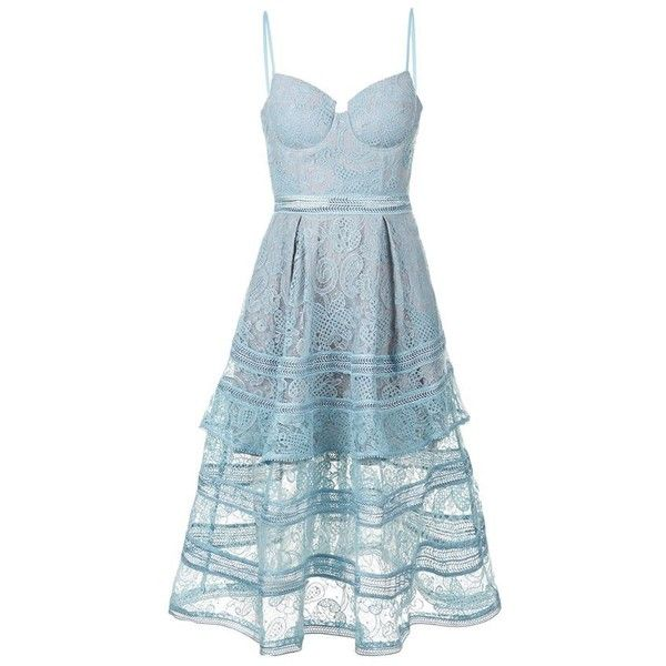 Self-Portrait Paisley Lace Midi Dress (1,310 SAR) ❤ liked on Polyvore featuring dresses, pastel dresses, tiered dress, midi dress, lace dress and blue bustier