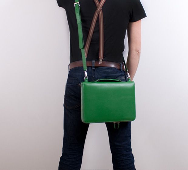Kelly green laptop Journalcase. bythreads.com.