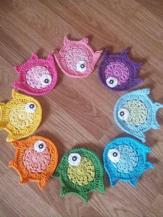 Crochet appliques crochet fish animal applique by Mydayboutique