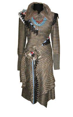Style.Hi-Fi.Ru | Платье с кроликовым воротником, отделанное кружевом, Adzhedo