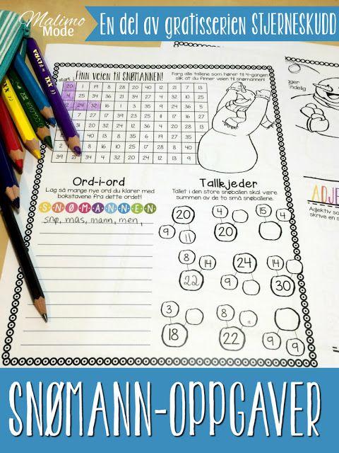 Stjerneskudd #1 - Snømann. Alle lærere kan skrive ut disse oppgavene gratis og ta dem med rett inn i klasserommet! Arbeid med 4-gangen, ord-i-ord, tallkjeder, skriving og adjektiv!