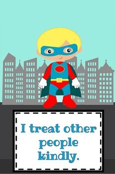 Superhero Classroom Rules.  I want to make these posters and then do the class agreements meeting and write an agreement on each poster.  It will make it easier to display all year (and cuter)...also a cute sheet where the kids all sign their names