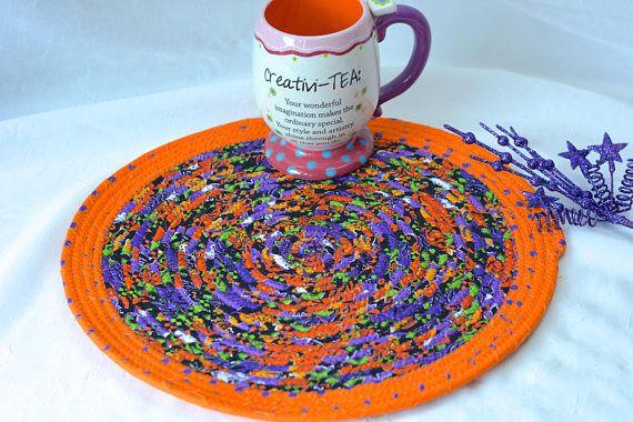 "Use Etsy discount coupon code ""pinten""     Fall Kitchen Trivet Halloween Decoration Handmade Orange Mug"