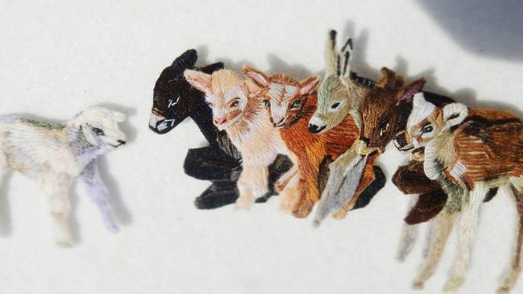 Ослята, козлята, ягненок и олененок! Броши, ручная вышивка хлопком и шерстью, застежки с серебрением ⚫️  Little donkeys, goats, lamb and little deer! Brooches, hand embroidery, cotton and wool thread, clasps with silvering  #deer#nature#lerapetunina#embroidery#broderie#ricamo#bordado#stitchwork#handwork#handembroidery#embroidered#embellishment#вышивка#ручнаявышивка#ручнаяработа#satinstitch