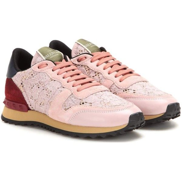 Valentino Lace Sneakers (€515) ❤ liked on Polyvore featuring shoes, sneakers, multicoloured, multi colored shoes, light pink sneakers, lace shoes, multi color shoes and colorful shoes
