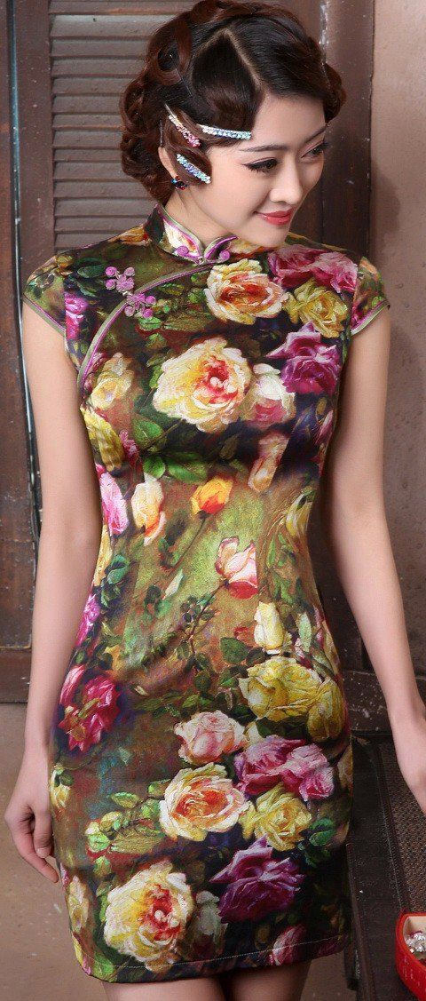 Retro Real Silk Floral Print Mini Bodycon Qipao Dress - iDreamMart.com