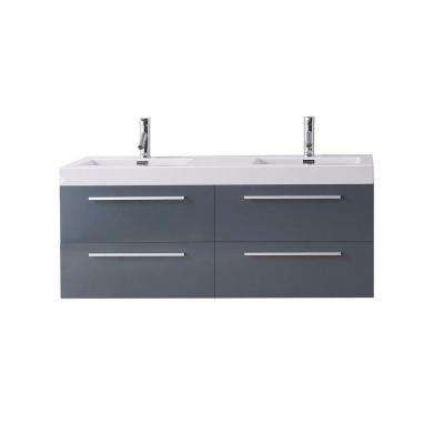 Finley 53-7/8 in. Double Vanity in Grey with Poly-Marble Vanity Top in White