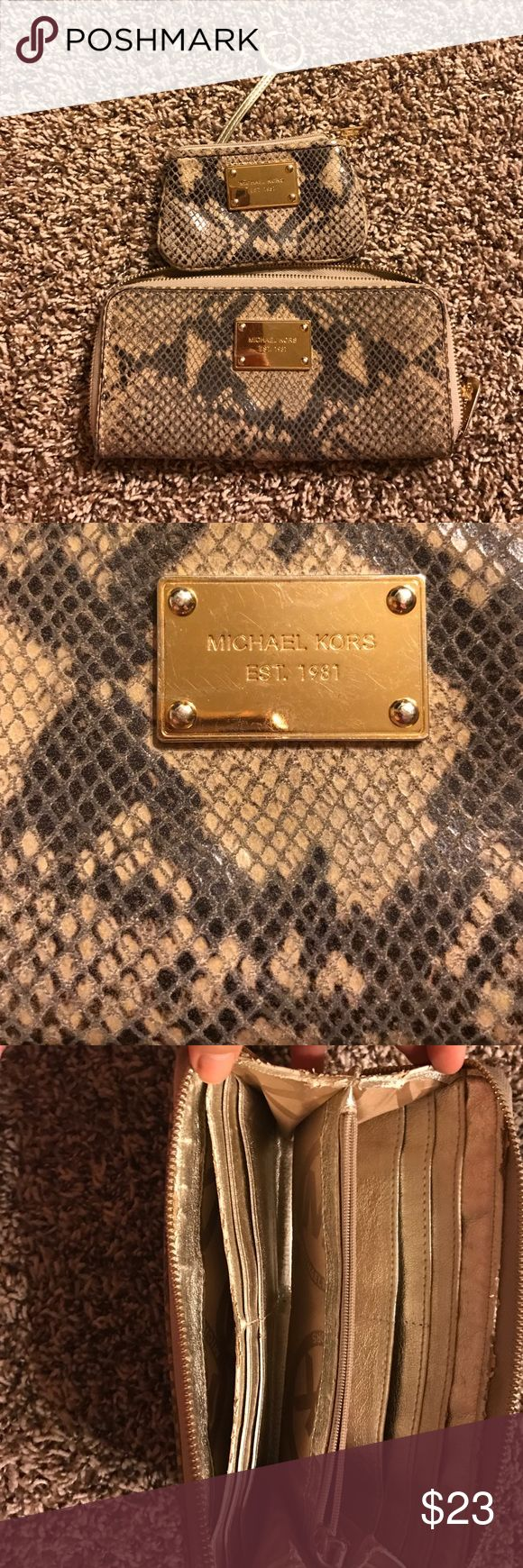 Michael Kors snake skin wallet and coin purse Micheal kors used wallet and coin purse. Both have significant amount of wear. Michael Kors Bags Wallets