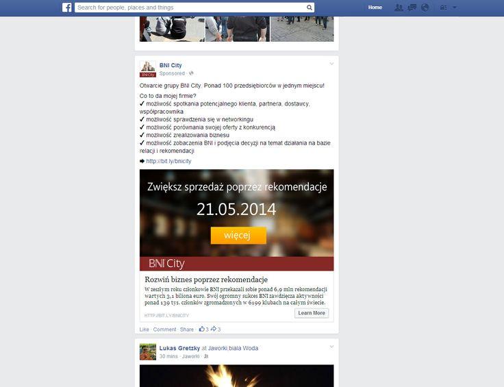 Otwarcie grupy BNI City - promocja na portalu społecznościowym Facebook
