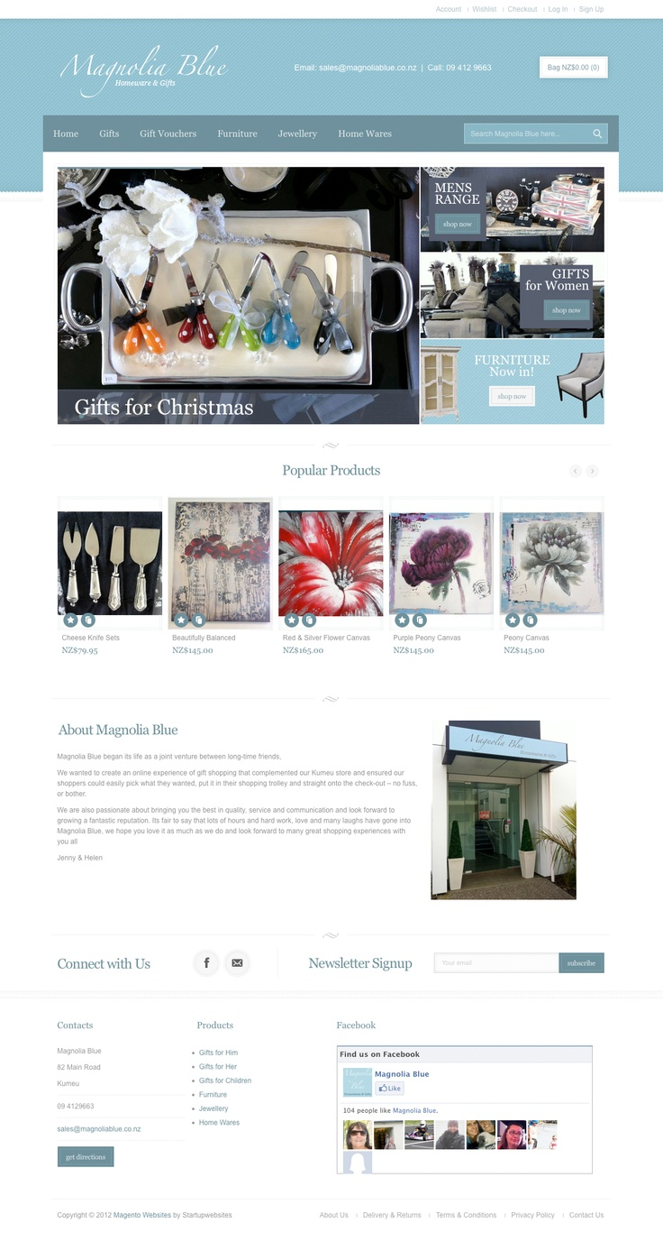 Magnolia Blue Gift Magento eCommerce Website