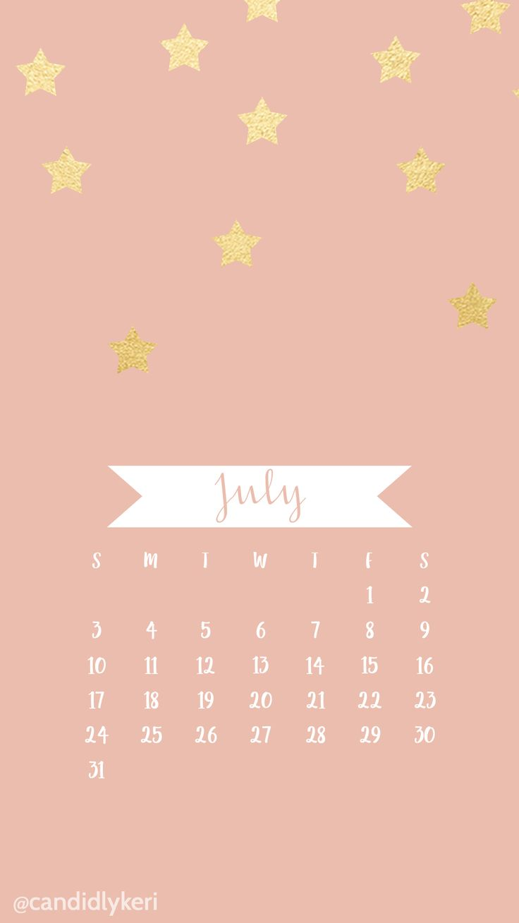 Pink and Gold foil Stars July 2016 calendar wallpaper free download for iPhone android or ...
