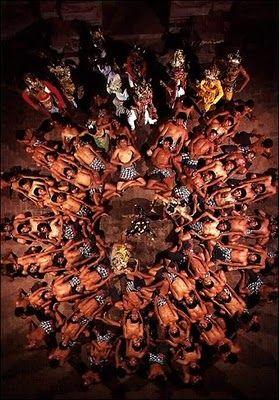 Kecak Bali Dance - Indonesia (Top angle)