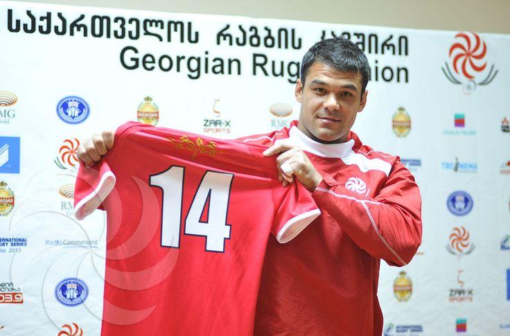 Georgian National Team Captain, Irakli Machkhaneli, presenting Georgia's new playing shirt made by ZAR-X Sports!  #zarxfamily  Photograph courtesy of Tamuna Kulumbegashvili (© 2013)