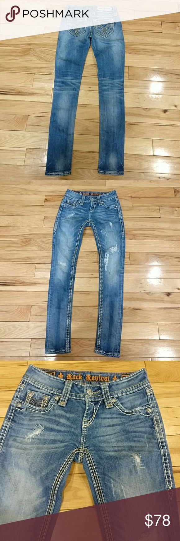 Rock Revival women's jeans size 24X30Denisa skinny Rock Revival women's jeans size 24 X 30 Denisa skinny they are distressed authentic they are in excellent condition I'm selling them at a great price so get them today yeah! Thanks for looking. Rock Revival Jeans Skinny