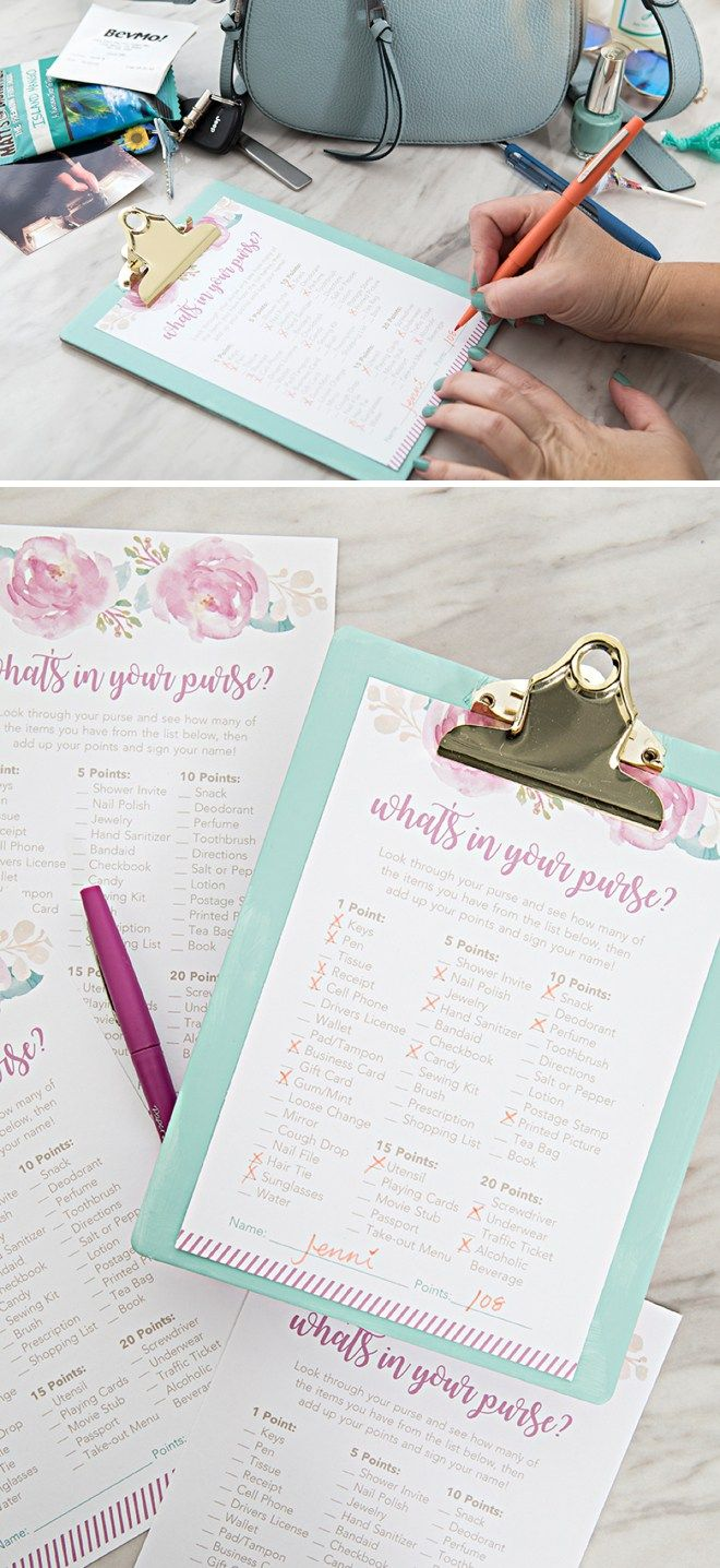 free printable bridal shower games and activities%0A OMG  These Free Printable   What u    s In Your Purse    Games Are SO Cute