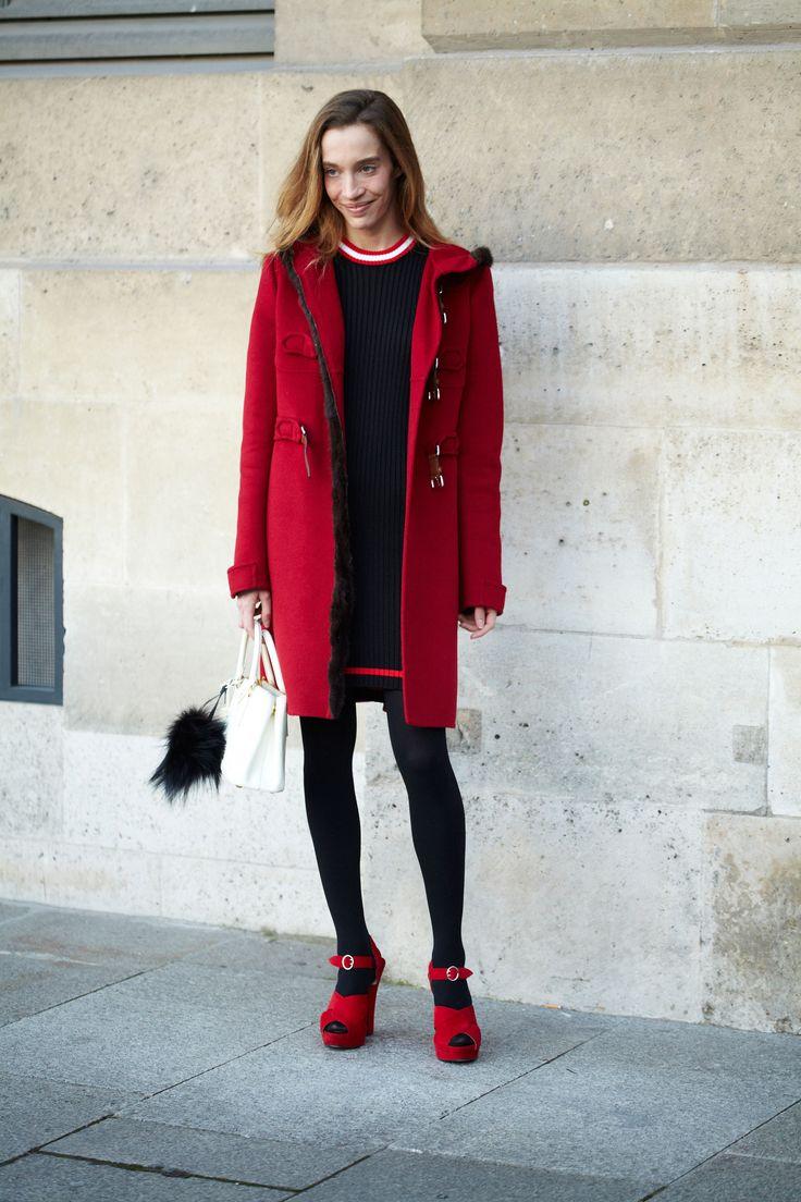 What She's Wearing Prada Get The Look Burberry Brit Hooded Wool