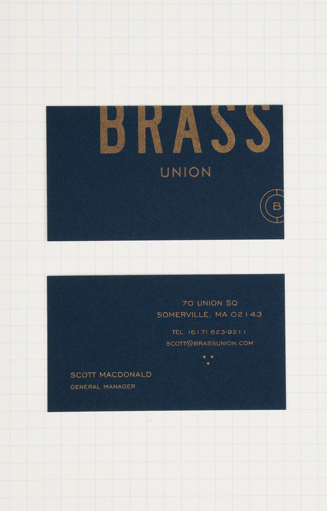 Logo identity brass union business card design for Union business cards