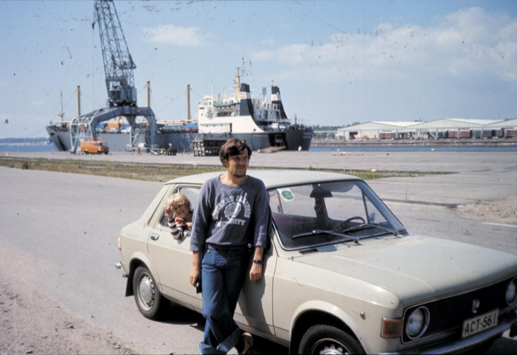 the Family car early/mid 70's / waiting for the ferry ride in Helsinki Sompasaari