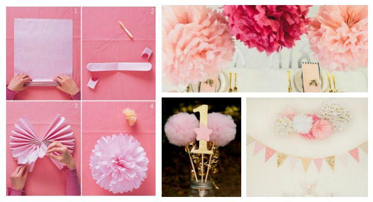 Princess party pompoms ideas decor
