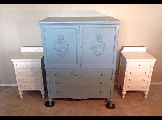 Antique Five Piece Armoire Dresser Set