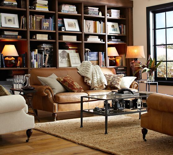 Attrayant New Sofa For The Family Room. Pottery Barn Leather ...