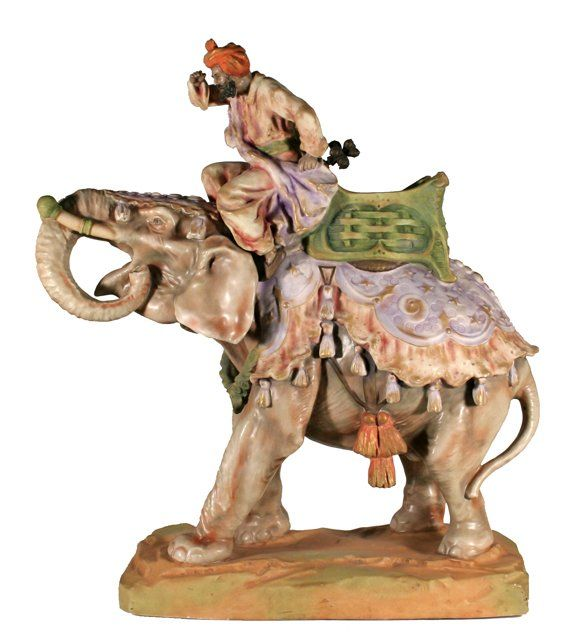 Amphora Pottery Elephant with Rider Figurine, 1905-1910. Signed with Incized Imperial-Amphora-Turn mark, Amphora in oval, incized numbers and Austria