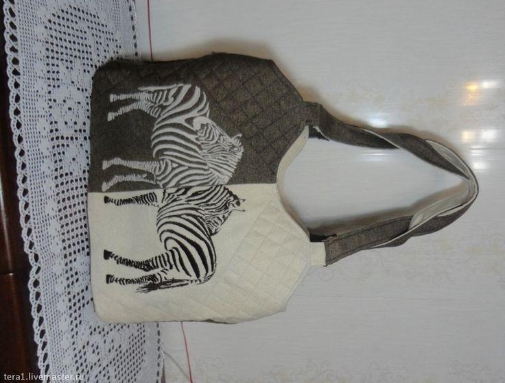 Купить Сумка с тремя отделами Зебры - рисунок, сумка, сумка ручной работы, сумка женская