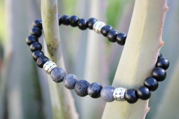 Boho Essential Oil Diffuser Jewelry-Black Lava