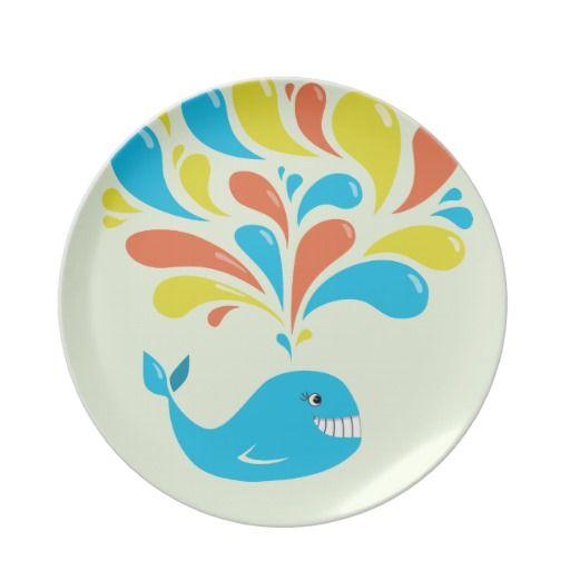 Colorful Splash Happy Cartoon Whale #Plate $24.95