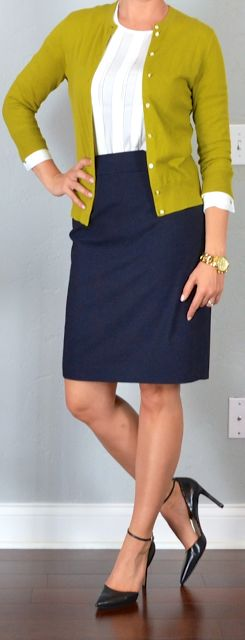 Outfit Posts: outfit post: white blouse, mustard/green cardigan, navy pencil skirt, black pointed toe heels