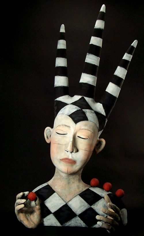 The Juggler. Clay Sculpture by American artist Victoria Sexton