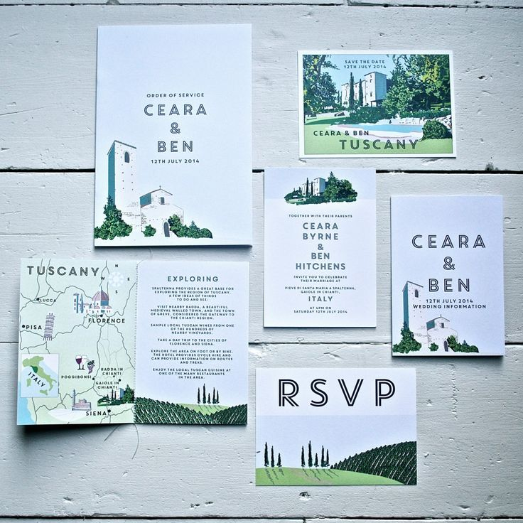 Lucy says I do bespoke hand drawn wedding stationery vintage travel poster inspired. Tuscany wedding. Castello di Spaltenna. Lucy says I do design. wedding stationery. Save the Date, Invitation, information booklet, RSVP postcard, order of service.