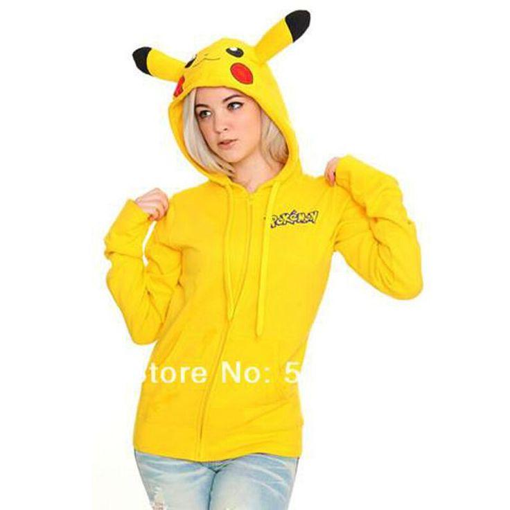 Plus Size Pikachu Pokemon Kigurums Hoodies Cosplay Japanese Costume Animal Hooded with Ear Couple Cotton Yellow Coat Women