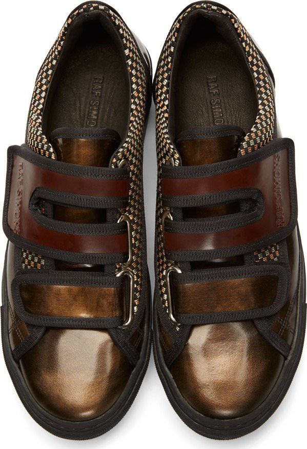 Raf Simons x Sterling Ruby Brown Leather Velcro Sneakers
