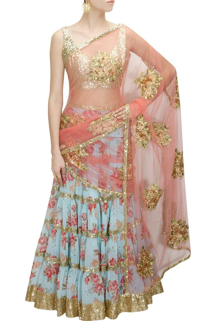 SEEMA KHAN Blue floral print and sequins sheeted lehenga set available only at Pernia's Pop-Up Shop.