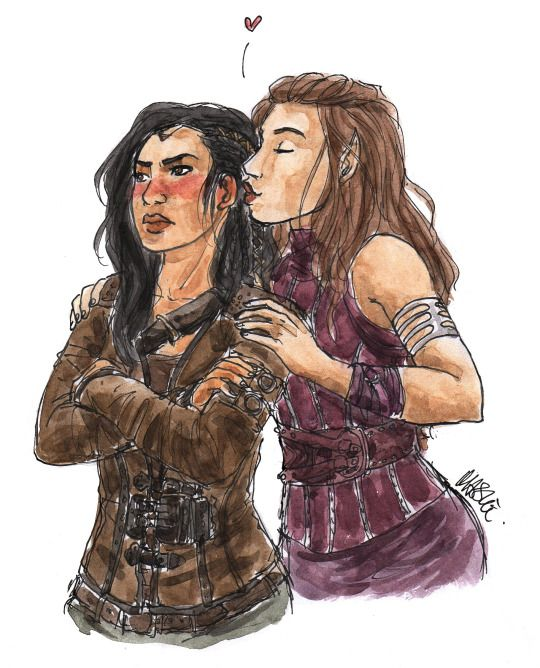 Amberle finds Eretria's human ears very, very cute.