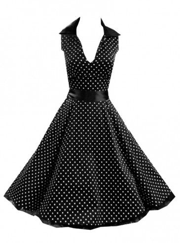 "Robe rockabilly vintage HR London ""Black White Small Dot"""