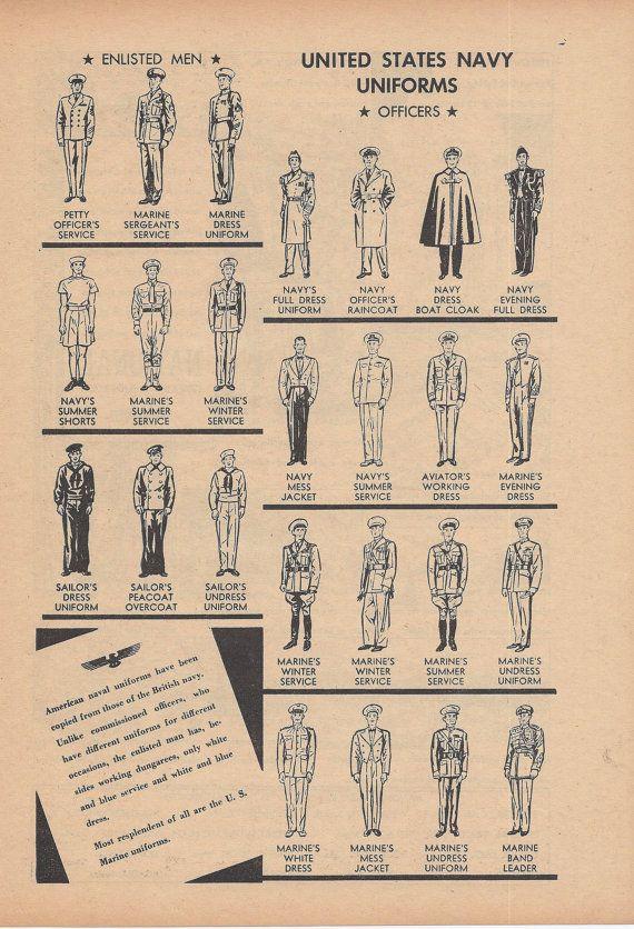 Stati Uniti uniformi della Marina di VintageButtercup su Etsy
