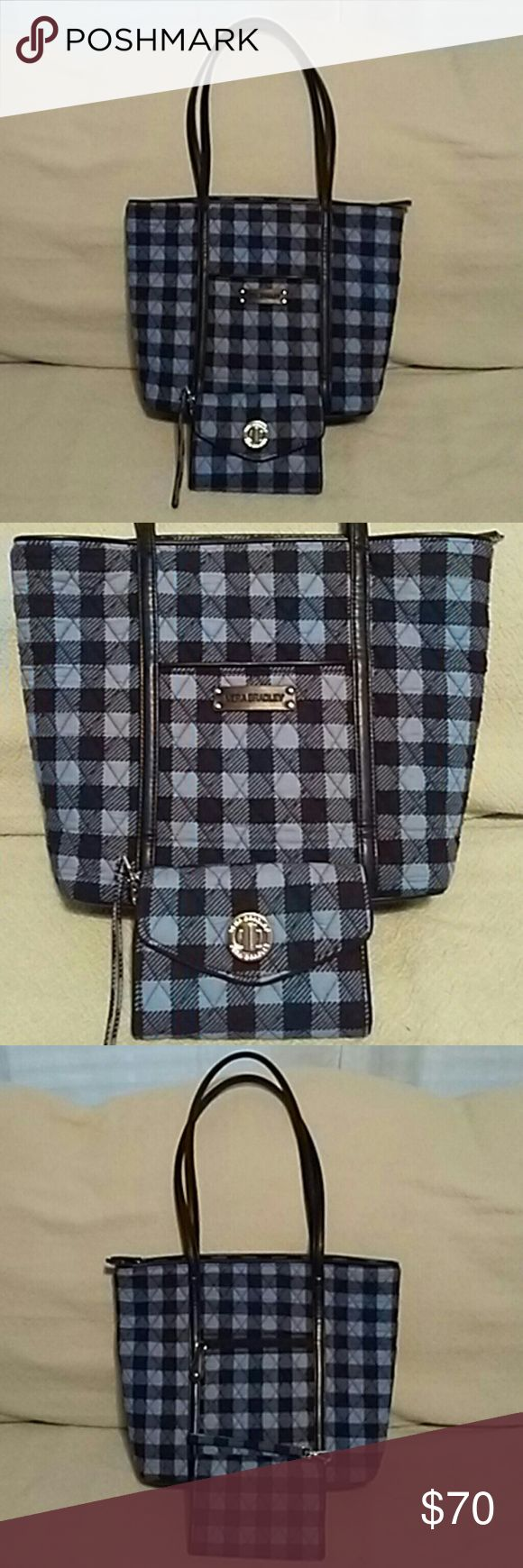 Vera Bradley Tote Bag With Matching Wallet Plaid Quilted Vera Bradley tote bag light blue and black with plenty of rooms inside with many pockets and 2 outside pockets front and back with matching wallet in Excellent Condition used twice clean inside in out. Vera Bradley Bags Totes