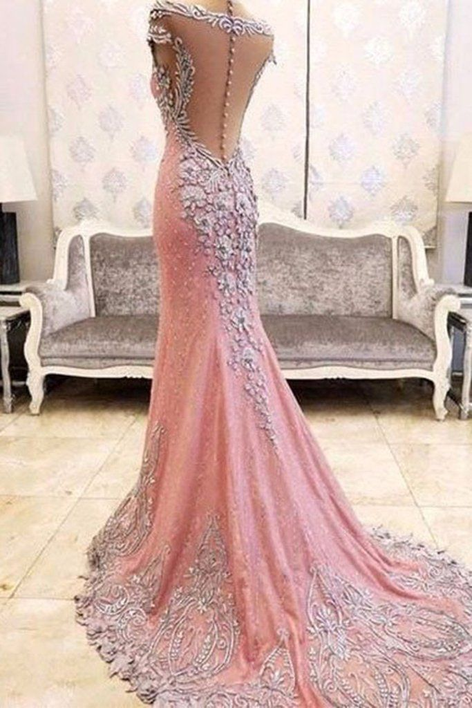 2017 luxury pink chiffon sequins beaded see-through mermaid long evening dresses