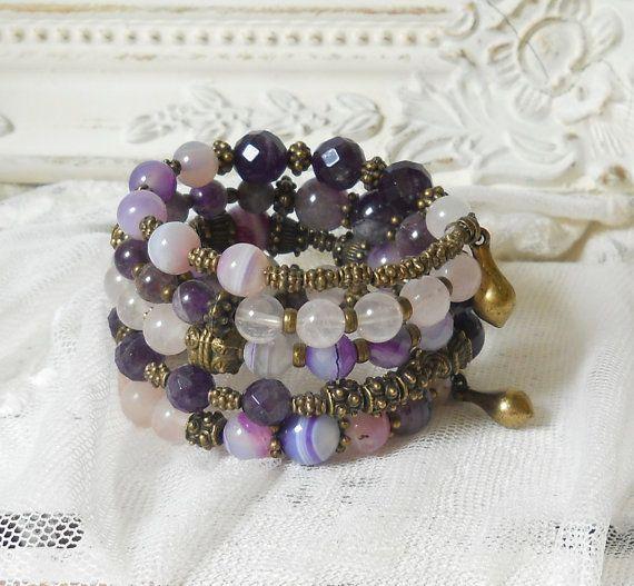 stone memory wire bracelet agate amethyst purple cuff bracelet bronze memory wire bracelet boho