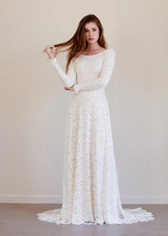 Long sleeve wedding dress, lace long sleeve wedding dress, lace