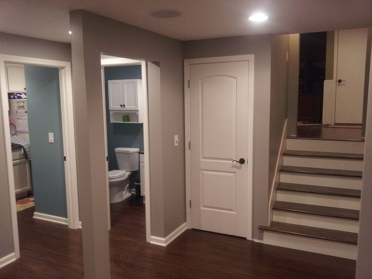 Awesome full basement remodel put door downstair to make for Basement closet ideas