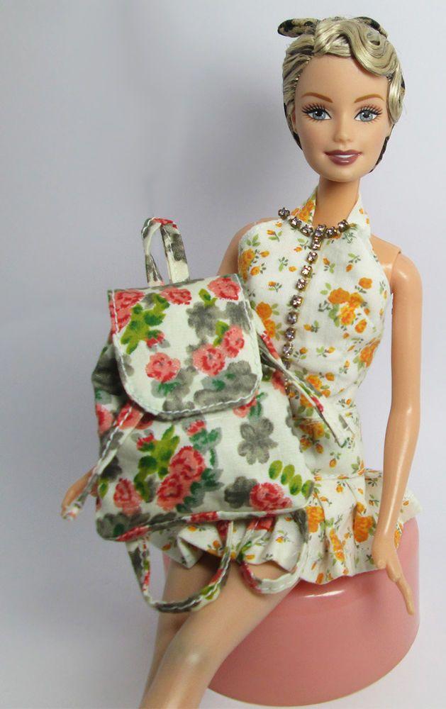 Handmade Red Rose Beige Backpack Bag Rucksack For Barbie Silkstone Doll Blythe #Sitar_Large_Super_Rich