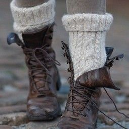 Cozy knit socks that were made to be seen and weathered boots that give off a rustic vibe.